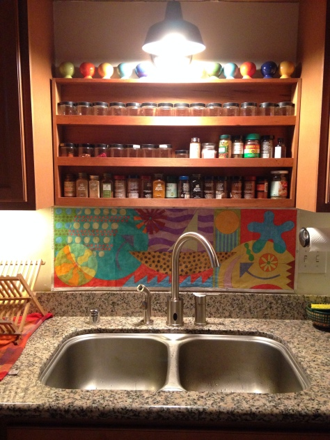Colored pencil drawing in place in Oakland kitchen.