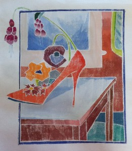 Inspired by Blanche Lazells prints, Patti Ryan created a fanciful still life